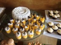 mango cheesecake and lemon-blueberry cake