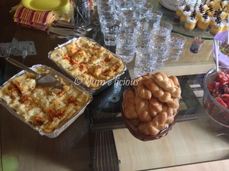 Veg Lasagna and bread rolls